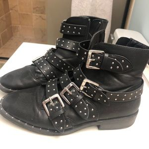 Black Leather Studded Forever 21 Biker Boots
